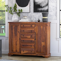 Appalachian Solid Wood 6 Drawer 2 Cabinet Sideboard