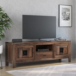 Appalachian Iron Flower 81inch LCD TV Stand Storage Console Cabinet