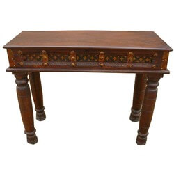 Carved Wood Brass Acent Entry Hall Foyer Console Table