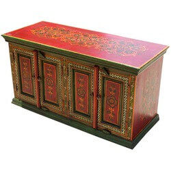 Hand Painted Oriental Garden 4 Door Sideboard