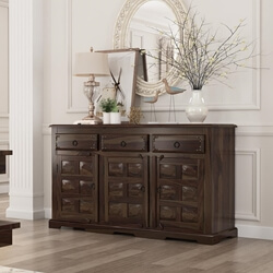 Westside Rustic Solid Wood 3 Drawer Large Sideboard Cabinet
