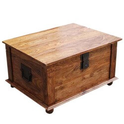 Sierra Nevada Solid Wood Coffee Table Storage Trunk  sc 1 st  Sierra Living Concepts & Square Wood with Metal Storage Trunk Box Accent Table