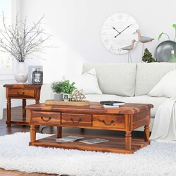Isleton Rustic Solid Wood  3 Drawer Baluster Coffee Table