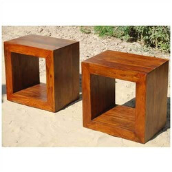18 solid wood open back display small side table for Small block coffee table