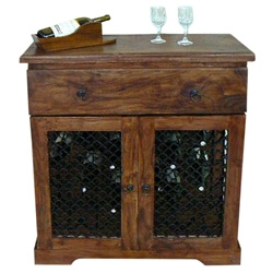 Rustic Solid Wood Iron Bottle Wine Bar Liquor Storage Rack Cabinet