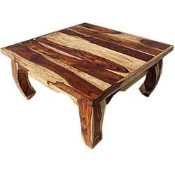 "Dallas Natural Solid Wood 35"" Square Opium Coffee Table"