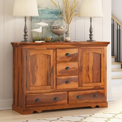 Rustic Solid Wood 5 Drawer Traditional Dining Room Buffet & Sideboard