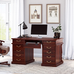 Rustic Solid Wood Rectangular Executive Office Desk with 11 Drawers