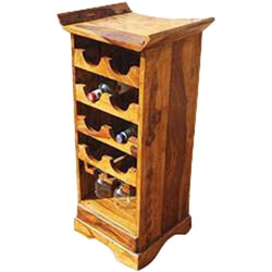 Redford Rustic Solid Wood Wine Cabinet With Stemware Glass Rack