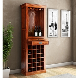 Lovedale Charming Rustic Handcrafted Mango Wood Tower Wine Bar Cabinet