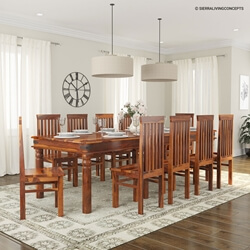 "Large Rustic Dining Room Table 109"" large rustic furniture solid wood dining table chair set"