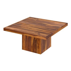 Brocton Solid Wood Rustic Block Pedestal Square Dining Table For 8