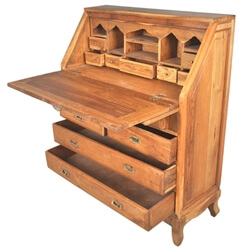 Portland Classic Butler's Teak Wood Drop-Front Secretary Office Desk