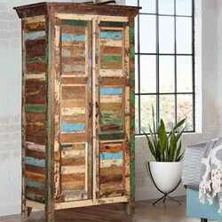 Appalachian Rustic Patchwork Solid Reclaimed Wood Tall Storage Cabinet