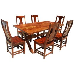 7 Piece Solid Wood Double Pedestal Dining Table and Chair Set
