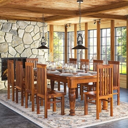 Rustic Lincoln Study Large Dining Room Table Chair Set For 10 People