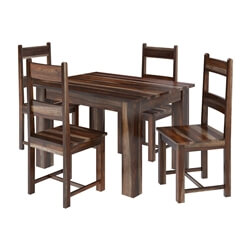 Alabama Modern Rustic Solid Wood Dining Table and Chair Set