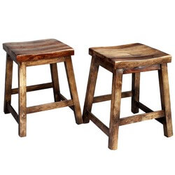 2 Dallas Ranch Indian Rosewood 4-Sided Square Stools