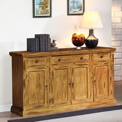 Rustic Hardwood 4-Door Sideboard Storage Cabinet Buffet