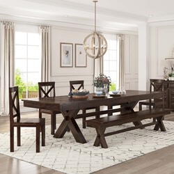 Westside Indoor Picnic Style Dining Table Bench Set With Extensions