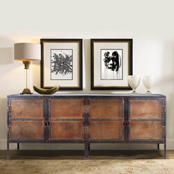 Industrial Black and Brown Iron 4 Door Large Sideboard Cabinet