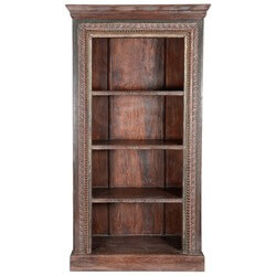 Lincoln Study Hand Carved Old Wood 4-Shelf Open Bookcase