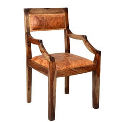Imperial Indian Rosewood & Leather Upholstered Dining Chair