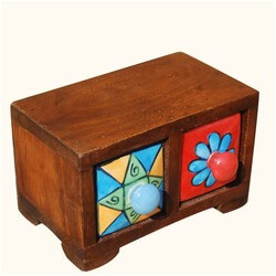 60's Mod Ceramic & Wood 2 Drawer Pill Box Spice Jewelry Treasure Box