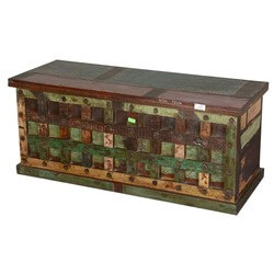 Beaufort Rustic Reclaimed Wood Bed Storage Trunk Chest