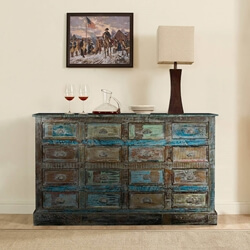 Reclaimed Wood 16 Drawer Apothecary Rustic Dresser Chest