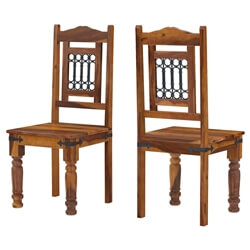 San Francisco Solid Wood & Iron Grill Back Chairs Set of 2