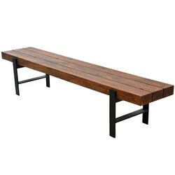 Rustic Industrial Beam Block Iron Base Solid Wood Dining Bench