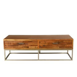 Modern Rustic Solid Wood & Iron 4 Drawer Industrial Coffee Table