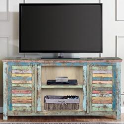 ritter rainbow reclaimed wood shutter door media console