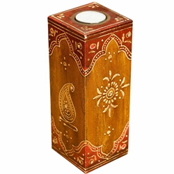 "Oriental Hand Painted Mango Wood 8"" Tall Votive Candle Holder"