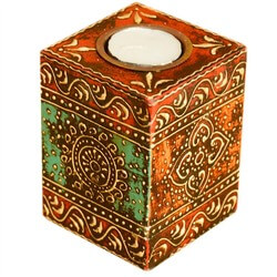 Oriental Hand Painted Wooden Votive Candle Holder