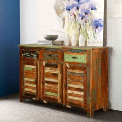 New Memories Reclaimed Wood Shutter Door 3 Drawer Sideboard
