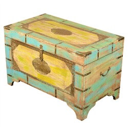 Whimsy Painted Reclaimed Wood & Brass Standing Coffee Table Chest
