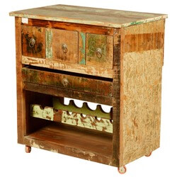 Rustic Rolling Reclaimed Wood Wine Bar Entertainment Cabinet