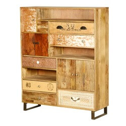 60u0027s retro mango wood u0026 iron 13 compartment wall unit cabinet