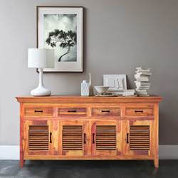 Modern Rustic Solid Wood Shutter Doors Sideboard Buffet with 4 Drawers