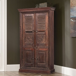 Aniwa Rustic Solid Reclaimed Wood 4 Door Tall Storage Cabinet