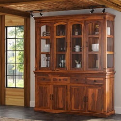 Clermont Rustic Solid Wood Casement Glass Door China Hutch