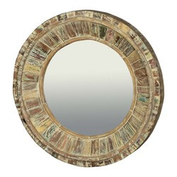 "32"" Round Classic Reclaimed Wood Wall Decor Mirror Frame"