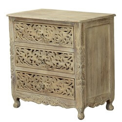 Queen Anne Lace Front Mango Wood 3 Drawer Dresser