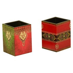Red & Green Hand Painted Desk Set Boxes Set of 2