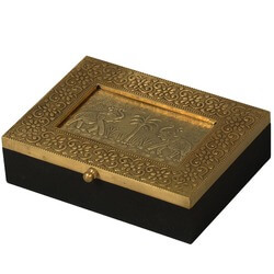 Golden Elephants Mango Wood & Brass Keepsake Treasure Box