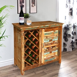 Garrard Rustic Reclaimed Wood Single Door Bar Cabinet w Wine Storage