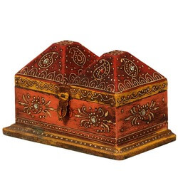 Antique Red Camel Back Mango Wood Bejeweled Keepsake Jewelry Box