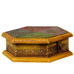 Golden Hexagon Mango Wood Hand Painted Keepsake Treasure Box